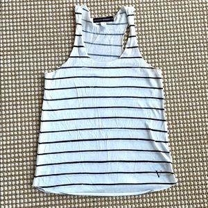 White and black stripe jersey knit super soft tank